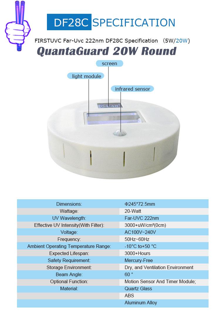 QuantaGuard 20W Round 222nm FAR UVC Excimer Lamp 24V DC