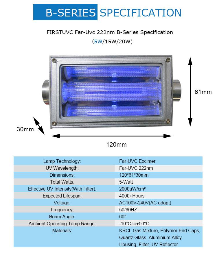 QuantaModule 5-Watt Far UVC Light Excimer Lamp Module Kit 24V DC 5w Far-UVC Light and Housing with 222nm Band Pass Filter