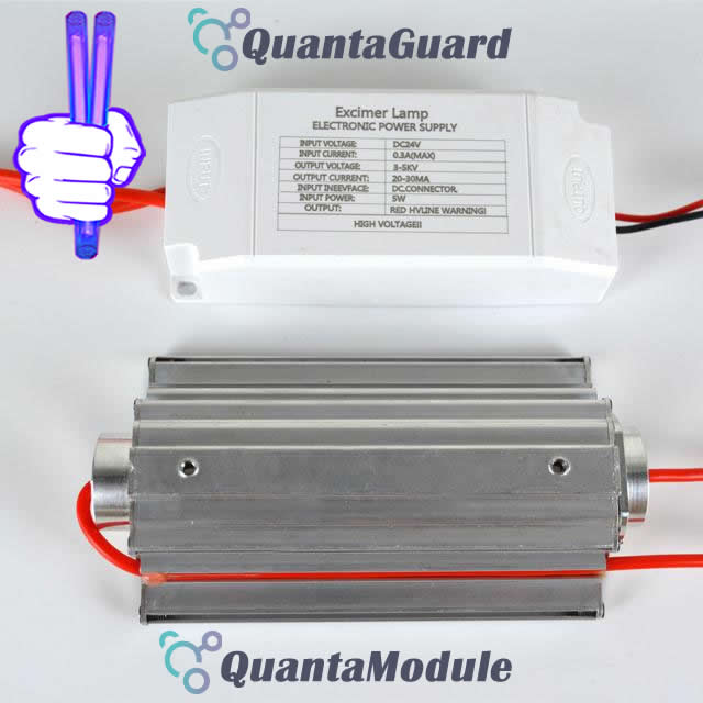 222-nm-far-uvc-light-Manufacturers-direct-buy-QuantaModule-excimer-far-uvc-lamp-5-watt-24v-DC-power-supply-band-pass-filter-and-housing-222-nm-far-uvc-light-Manufacturers-kit